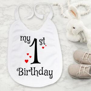 Bavetica personalizata my first Birthday