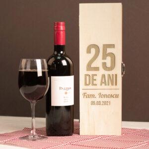 Cutie vin personalizata singulara 25 ani