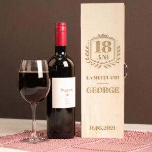 Cutie vin personalizata singulara aniversare + nume
