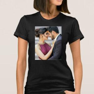 Tricou dama personalizat cu poza ta negru