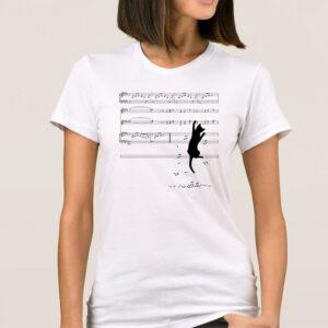 tricou dama personalizat cu o pisica si note muzicale