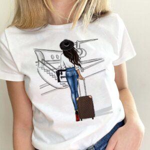 Tricou alb dama personalizat calatorie cu avionul