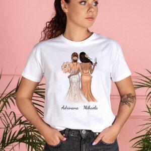 Tricou alb personalizat dama mireasa si domnisoara de onoare