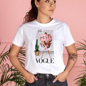 Tricou dama alb personalizat Vogue
