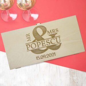 Cutie de vin dubla personalizata Mr si MRS