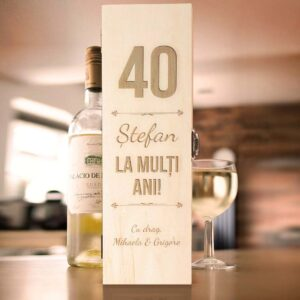 Cutie de vin personalizata - La multi ani