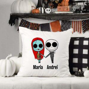 Perna personalizata de Halloween pentr cuplu cu personaje si nume 1